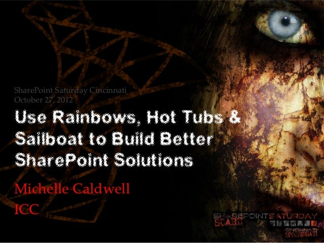 SharePoint Saturday CincinnatiOctober 27, 2012Use Rainbows, Hot Tubs &Sailboat to Build BetterSharePoint SolutionsMichelle...