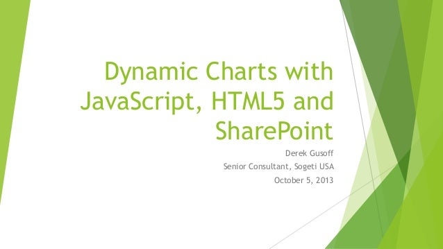 Dynamic Charts with JavaScript, HTML5 and SharePoint Derek Gusoff Senior Consultant, Sogeti USA October 5, 2013