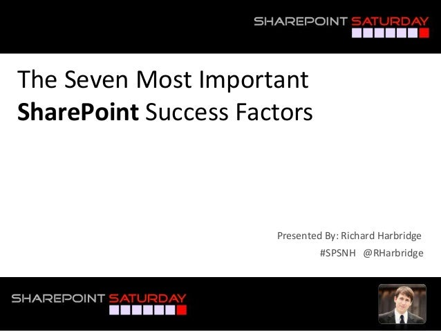 The Seven Most Important SharePoint Success Factors #SPSNH @RHarbridge Presented By: Richard Harbridge