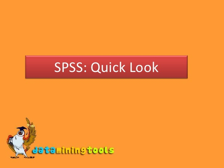 SPSS: Quick Look<br />