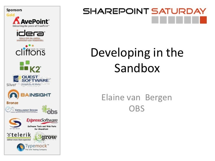 SharePoint Saturday - Sandbox development