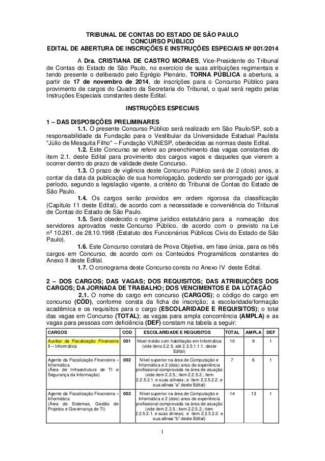 1  TRIBUNAL DE CONTAS DO ESTADO DE SÃO PAULO  CONCURSO PÚBLICO  EDITAL DE ABERTURA DE INSCRIÇÕES E INSTRUÇÕES ESPECIAIS Nº...