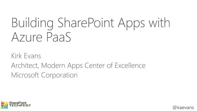 Building SharePoint Apps with Azure PaaS