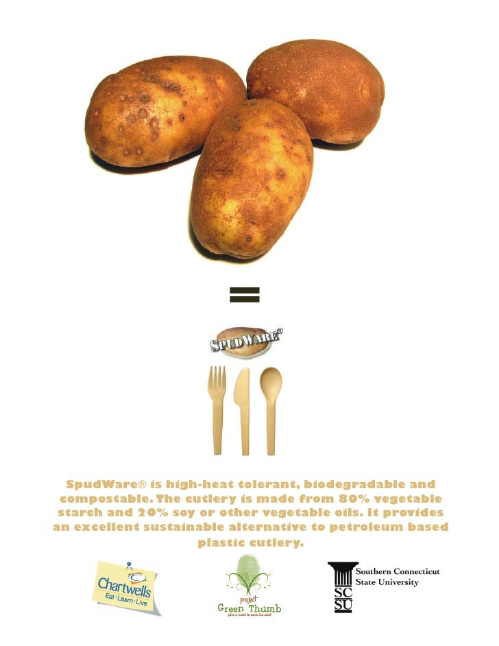 SpudWare® is high-heat tolerant, biodegradable and compostable. The cutlery is made from 80% vegetable starch and 20% soy ...