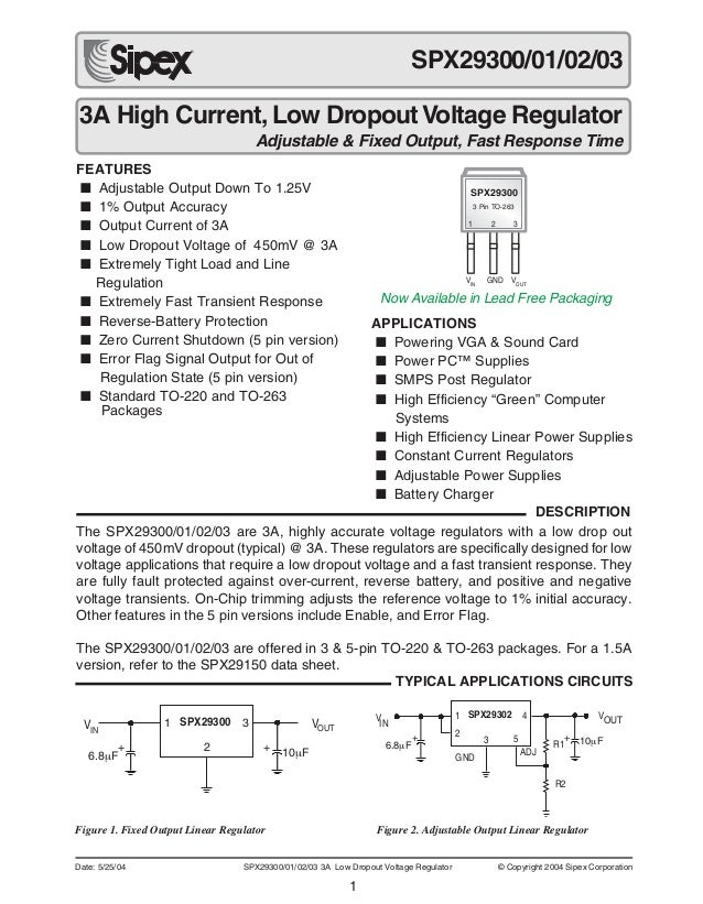 1 Date: 5/25/04 SPX29300/01/02/03 3A Low Dropout Voltage Regulator © Copyright 2004 Sipex Corporation 3A High Current, Low...