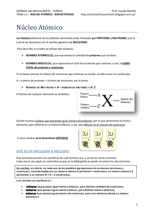 QUÍMICA 2do BACHILLERATO. TEÓRICO Prof. Claudia Minetti TEMA 1.3 - NÚCLEO ATÓMICO - RADIACTIVIDAD http://cienciasfisicascm...