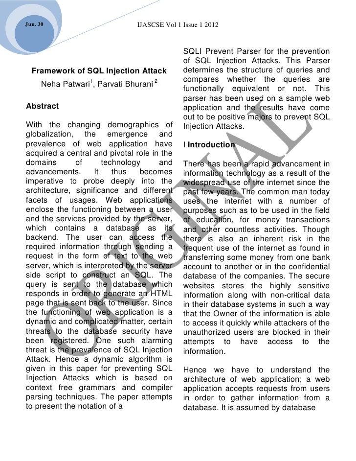 Jun. 30                         IJASCSE Vol 1 Issue 1 2012                                              SQLI Prevent Parse...