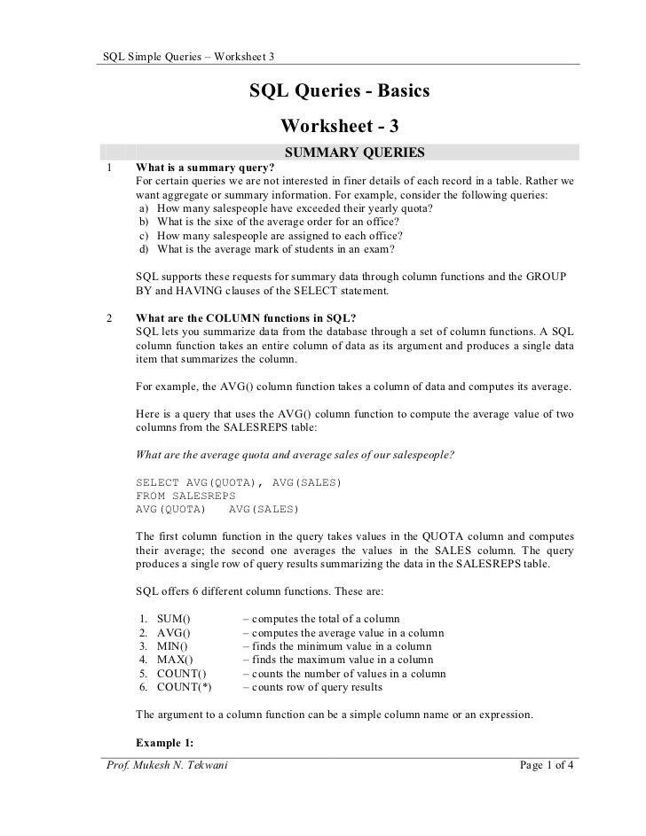 SQL Simple Queries – Worksheet 3                              SQL Queries - Basics                                     Wor...