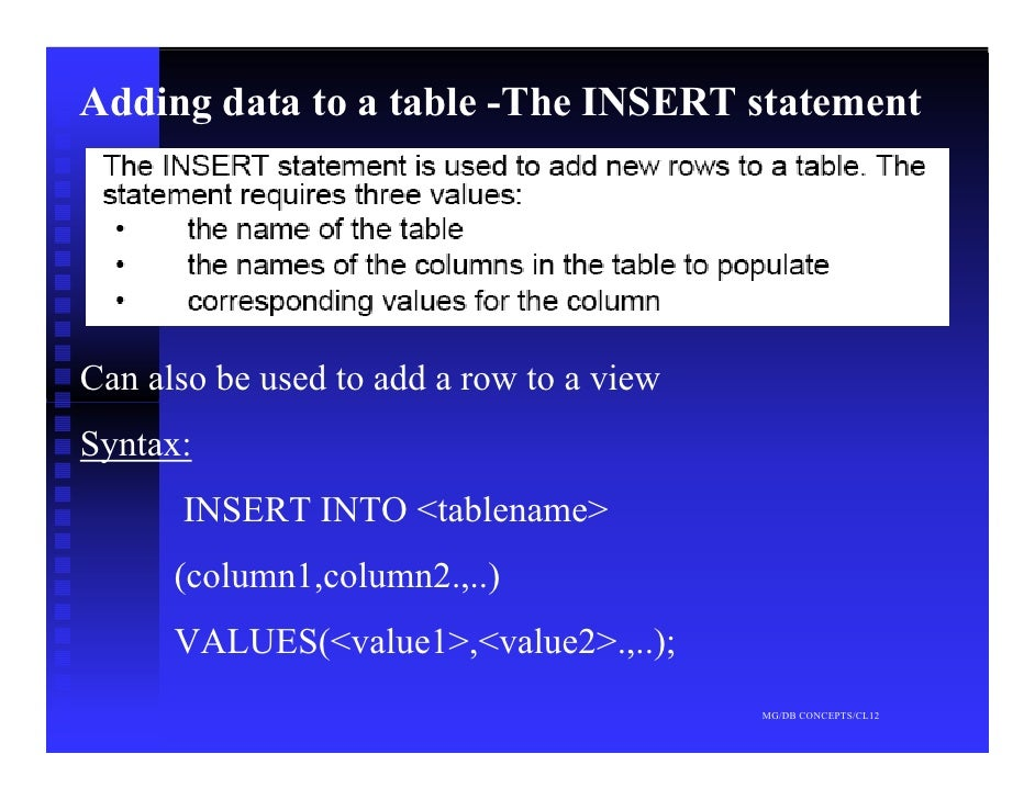 Adding data to a table -The INSERT statement     Can also be used to add a row to a view Syntax:       INSERT INTO <tablen...