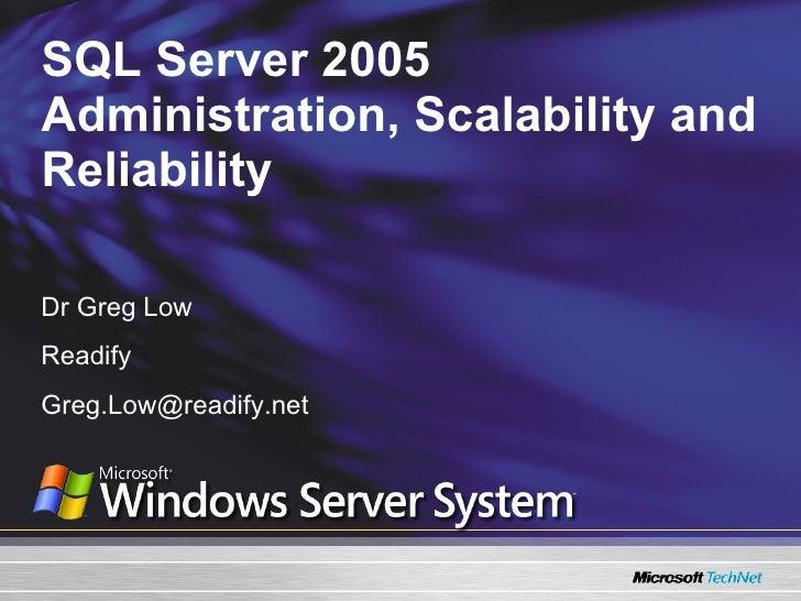 Sql 2005 high availability