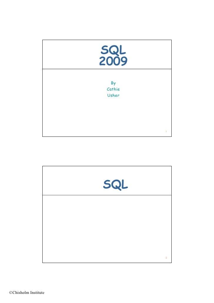 SQL                       2009                          By                        Cathie                        Usher     ...