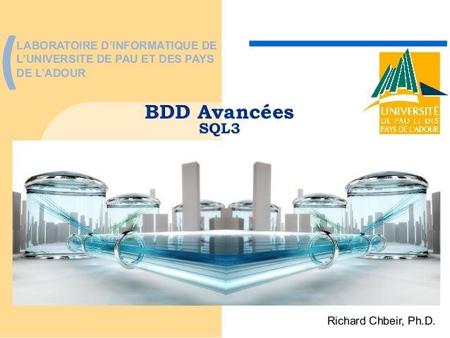 """(""""  LABORATOIRE D'INFORMATIQUE DE L'UNIVERSITE DE PAU ET DES PAYS DE L'ADOUR  BDD Avancées SQL3  Richard Chbeir, Ph.D."""
