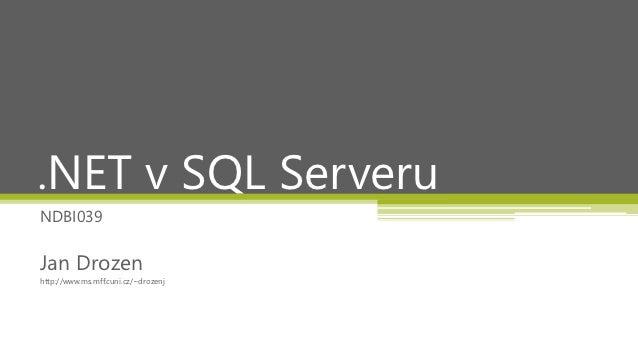 .NET v SQL Serveru