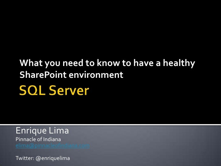 Sql Health in a SharePoint environment