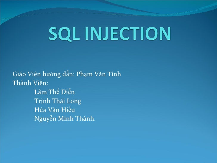 Sql injection bao cao it-slideshares.blogspot.com