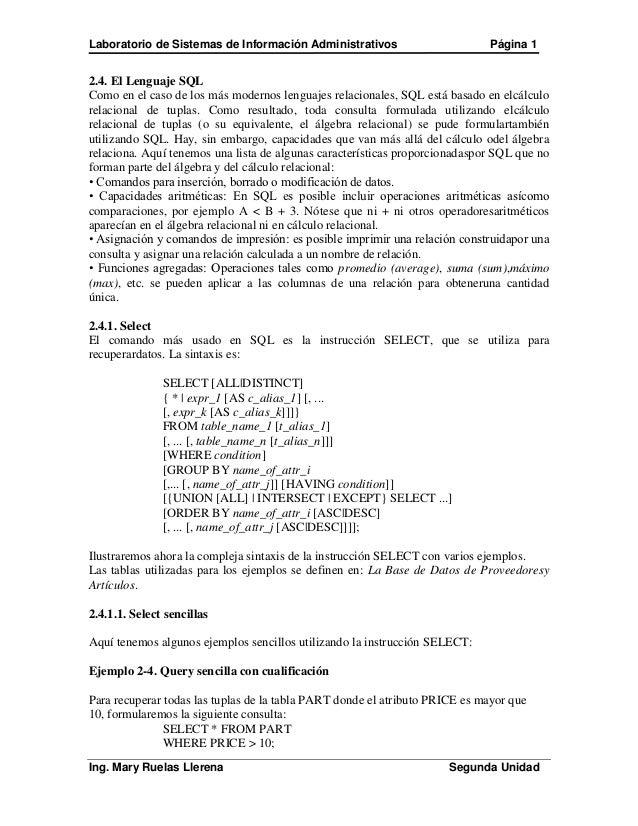 Laboratorio de Sistemas de Información Administrativos                       Página 12.4. El Lenguaje SQLComo en el caso d...