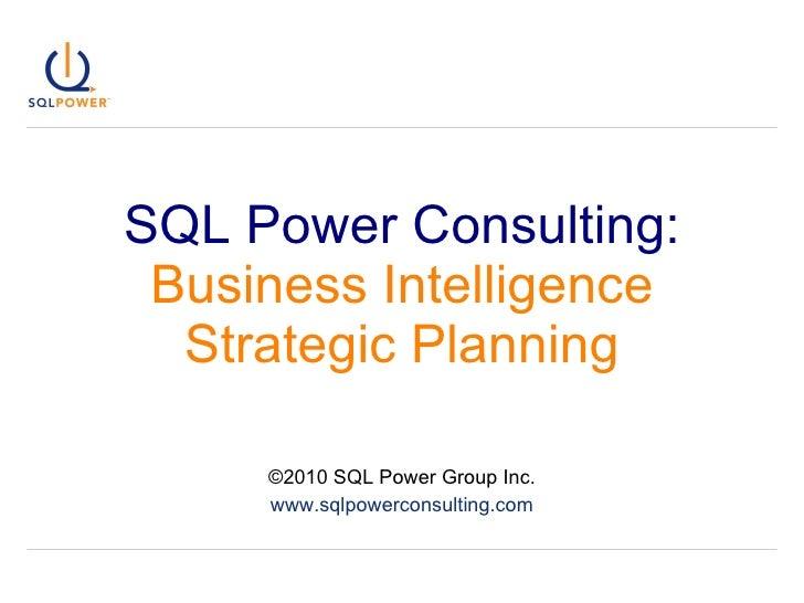 Business Intelligence (BI) Strategic Planning