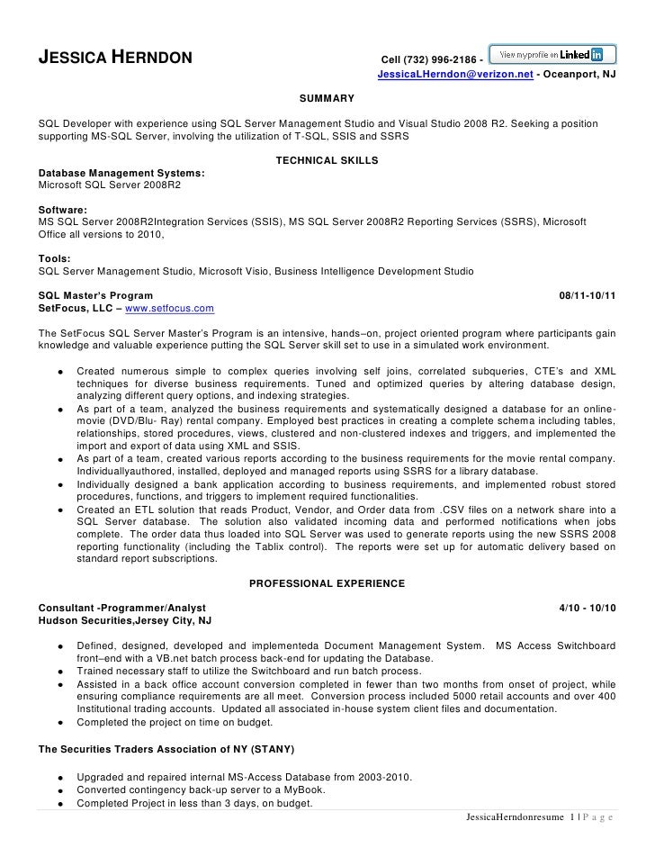 Small business bookkeeper resume