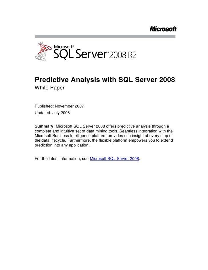 Sql server 2008 r2 data mining whitepaper overview