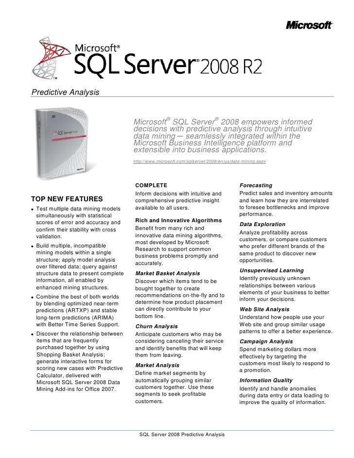 Sql server 2008 r2 predictive analysis data sheet