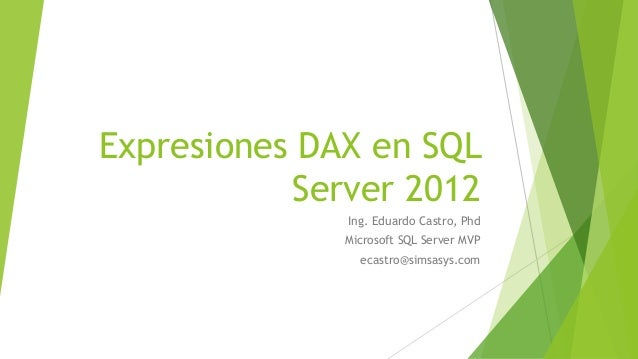 Expresiones DAX en SQL Server 2012 Ing. Eduardo Castro, Phd Microsoft SQL Server MVP ecastro@simsasys.com