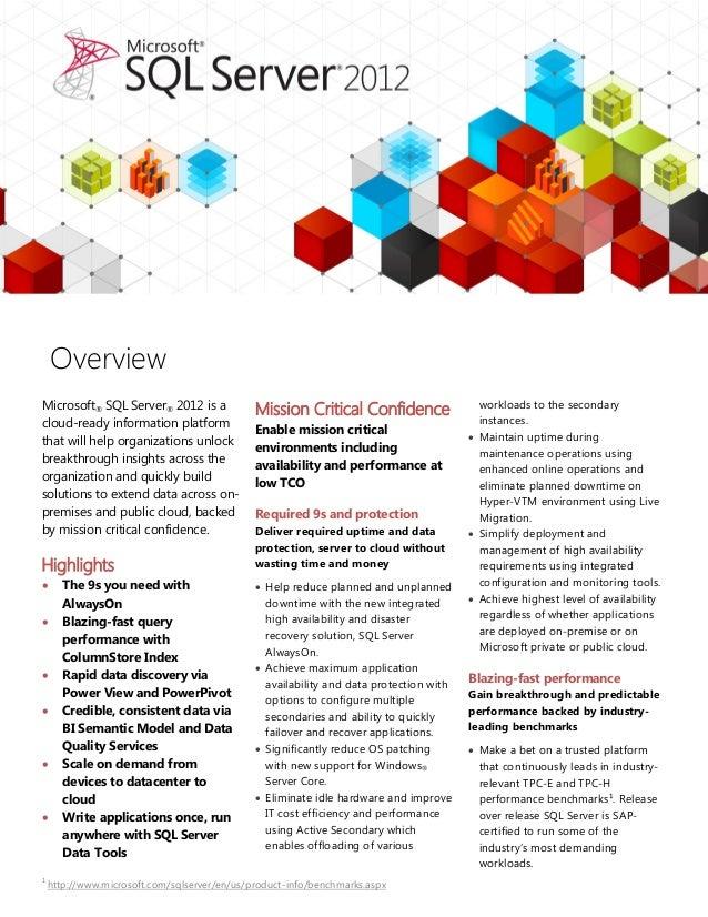 1 http://www.microsoft.com/sqlserver/en/us/product-info/benchmarks.aspx Microsoft® SQL Server® 2012 is a cloud-ready infor...