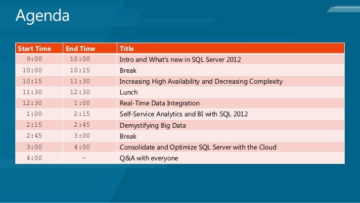Start Time   End Time   Title  9:00        10:00     Intro and Whats new in SQL Server 2012 10:00        10:15     Break 1...