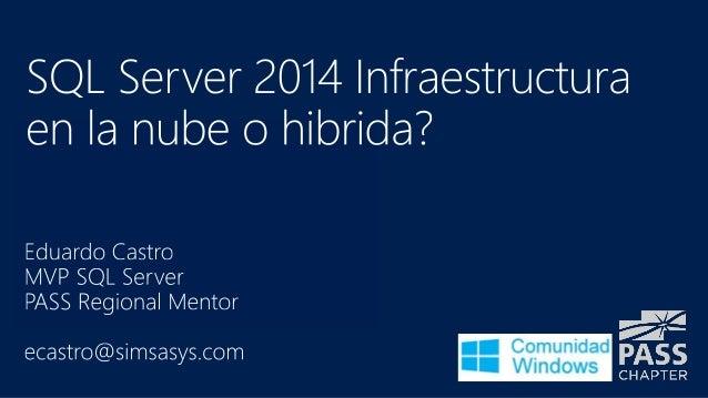 SQL Server 2014 infraestructura hibrida y nube
