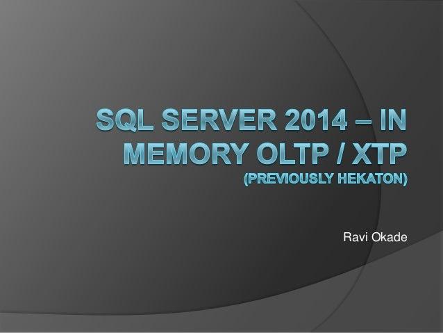 Sql Server 2014 In Memory