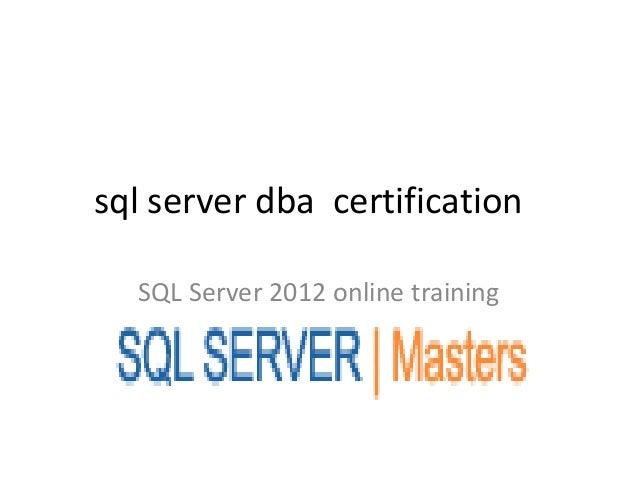 Sql server dba certification