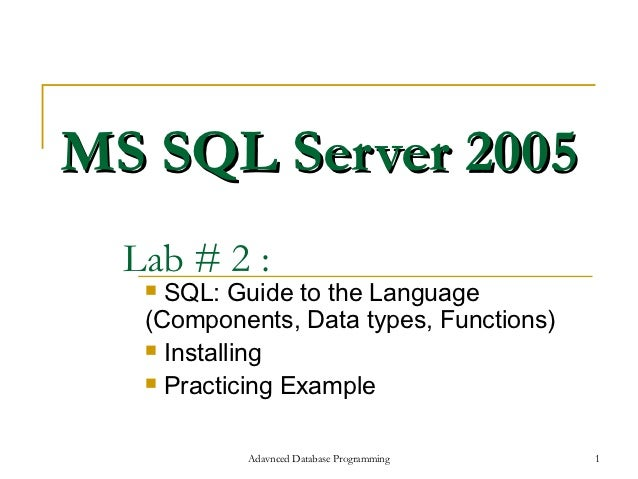 MS SQL Server 2005  Lab # 2 :    SQL: Guide to the Language   (Components, Data types, Functions)    Installing    Prac...
