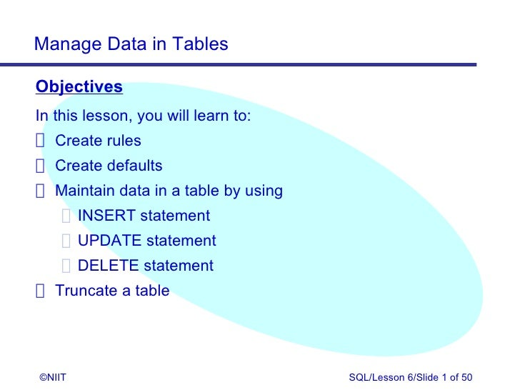 Manage Data in TablesObjectivesIn this lesson, you will learn to: Create rules Create defaults Maintain data in a table by...