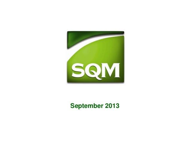 SQM Presentacion Corporativa Septiembre 2013