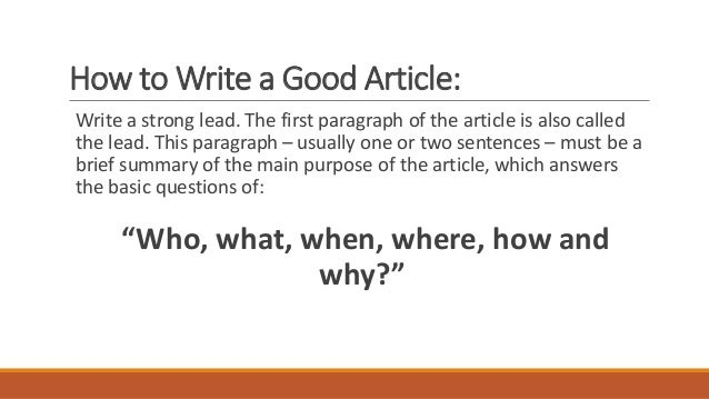 Write my how to write an article pdf
