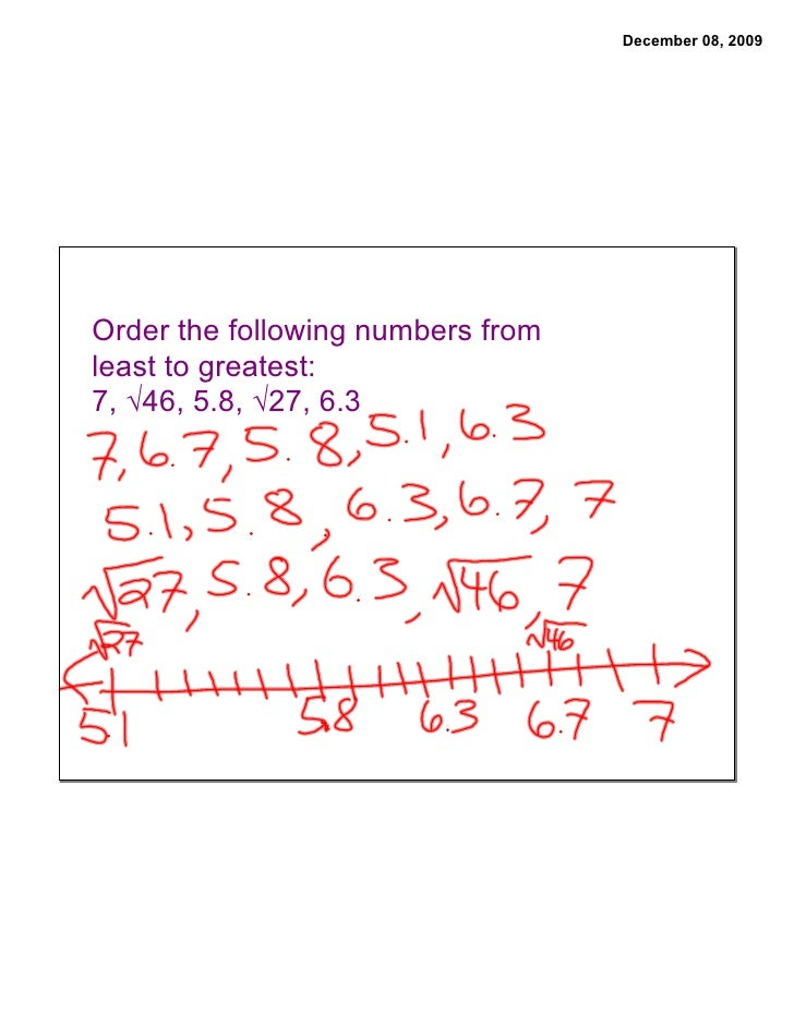 December 08, 2009     Order the following numbers from least to greatest: 7, √46, 5.8, √27, 6.3
