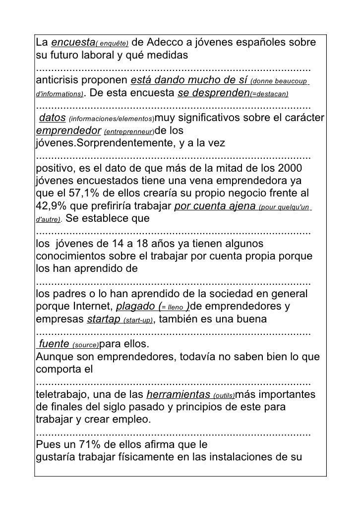 La encuesta( enquête) de Adecco a jóvenes españoles sobresu futuro laboral y qué medidas.....................................