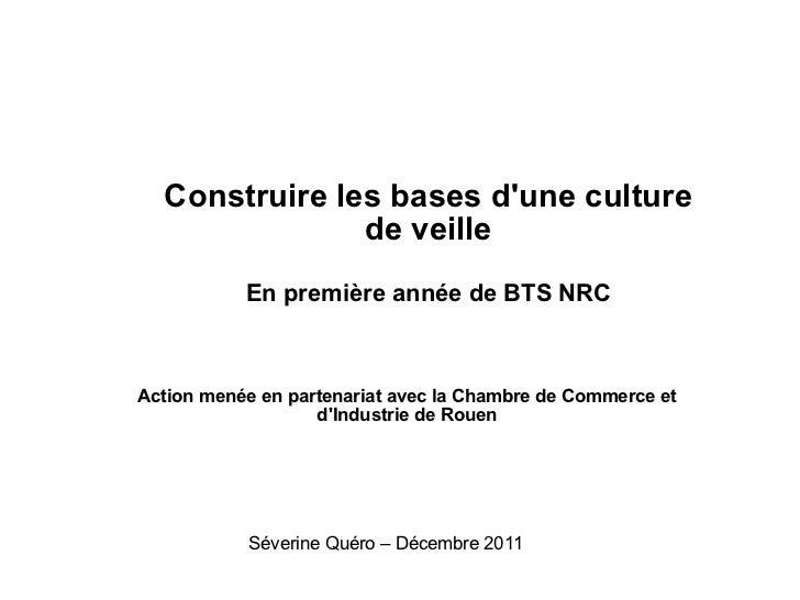 Construire les bases d'une culture de veille En première année de BTS NRC Action menée en partenariat avec la Chambre de C...