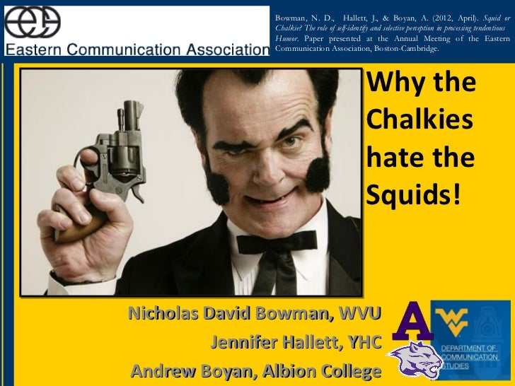 Bowman, N. D., Hallett, J., & Boyan, A. (2012, April). Squid or                  Chalkie? The role of self-identify and se...