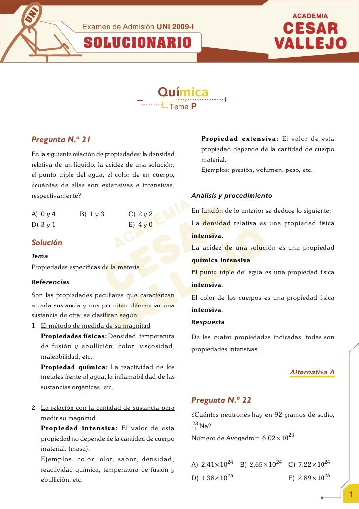 SOLUCIONARIO EXAMEN DE ADMISION UNI QUIMICA 2009 I