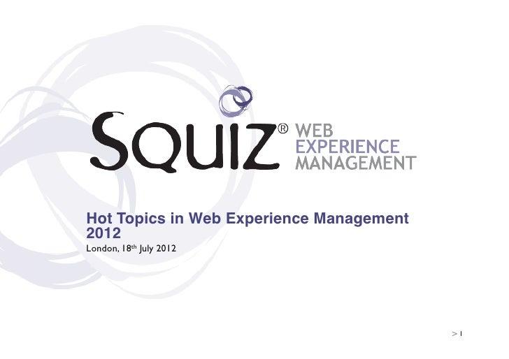 Squiz Seminar July 2012