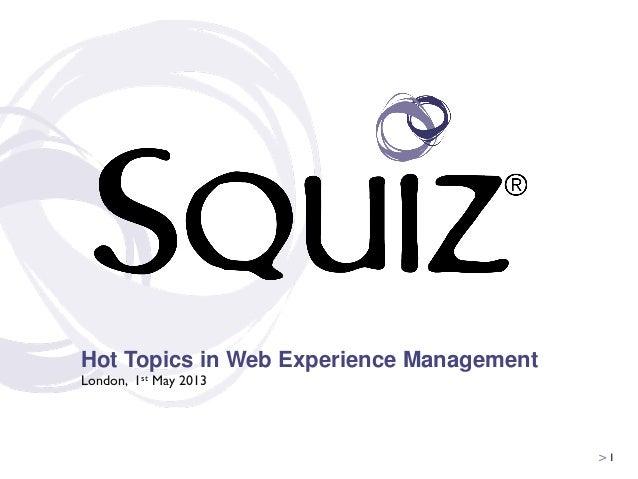 Hot Topics in Web Experience Management - Squiz Seminar May 2013