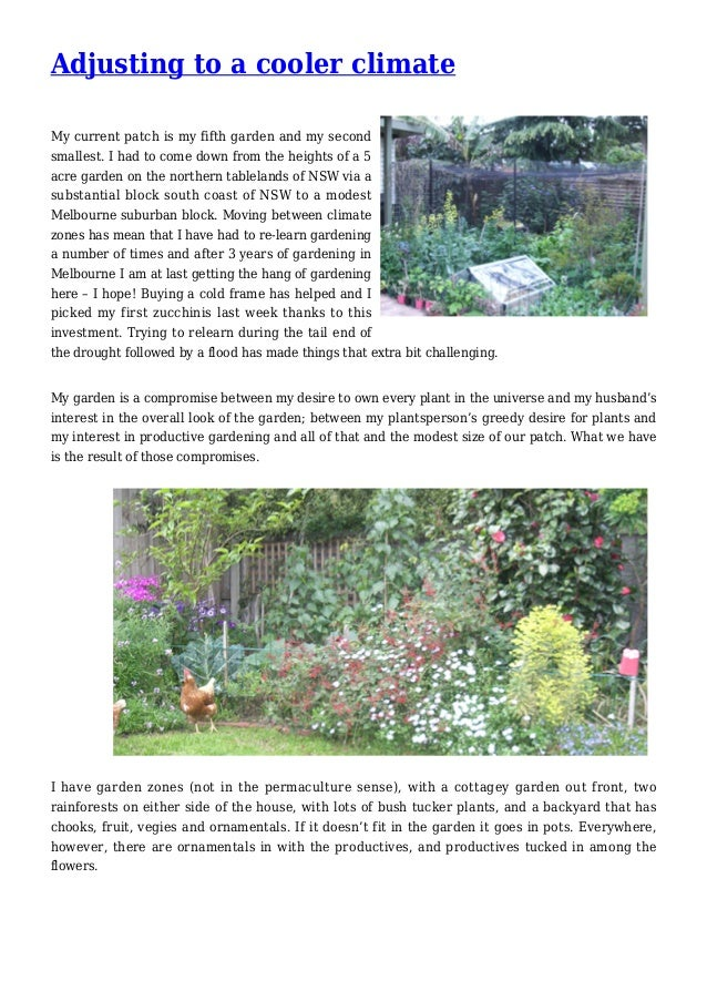 Adjusting to a Cooler Climate Gardening