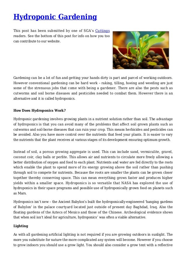 Hydroponic Gardening This post has been submitted by one of SGA's Cuttings readers. See the bottom of this post for info o...
