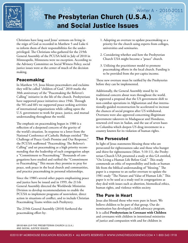 Winter A • 2010-2011                          The Presbyterian Church (U.S.A.)                              and Social Jus...