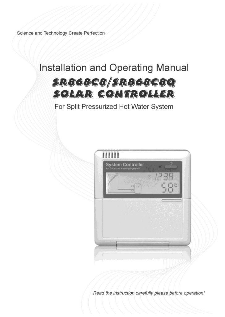 Operation manual of solar water controller SR868C8/SR868C8Q                                                               ...