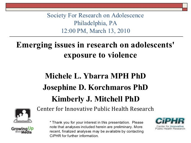 Society For Research on AdolescencePhiladelphia, PA12:00 PM, March 13, 2010Emerging issues in research on adolescentsexpos...