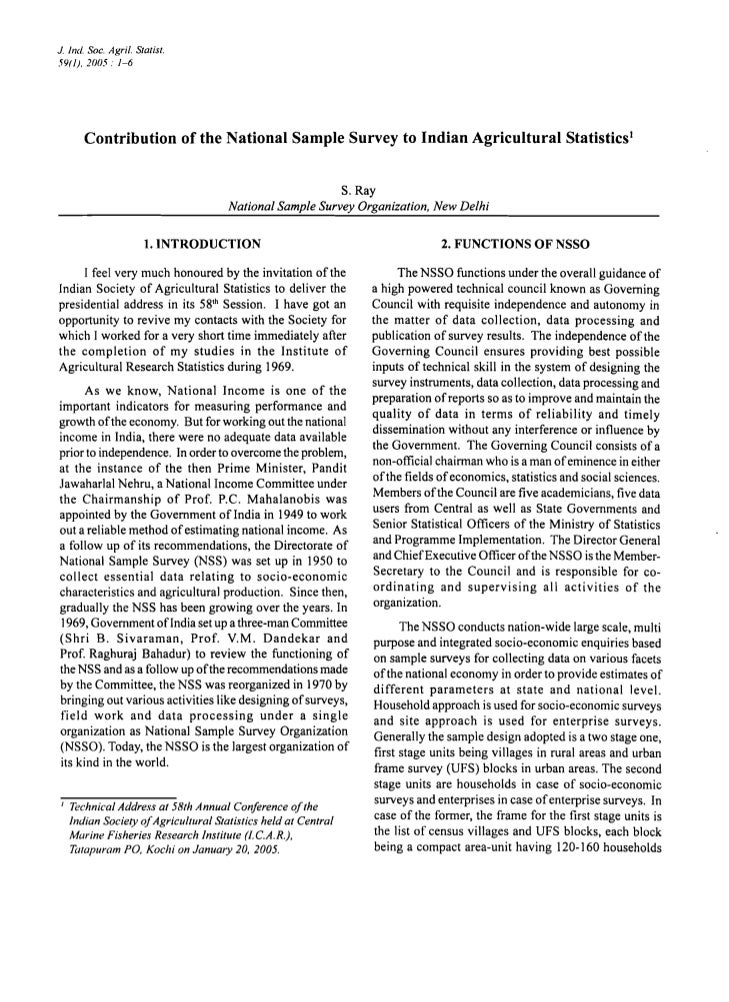 J. Inc/. Soc. Agri/. Statist.59( I). 2005. 1-6        Contribution of the National Sample Survey to Indian Agricultural St...