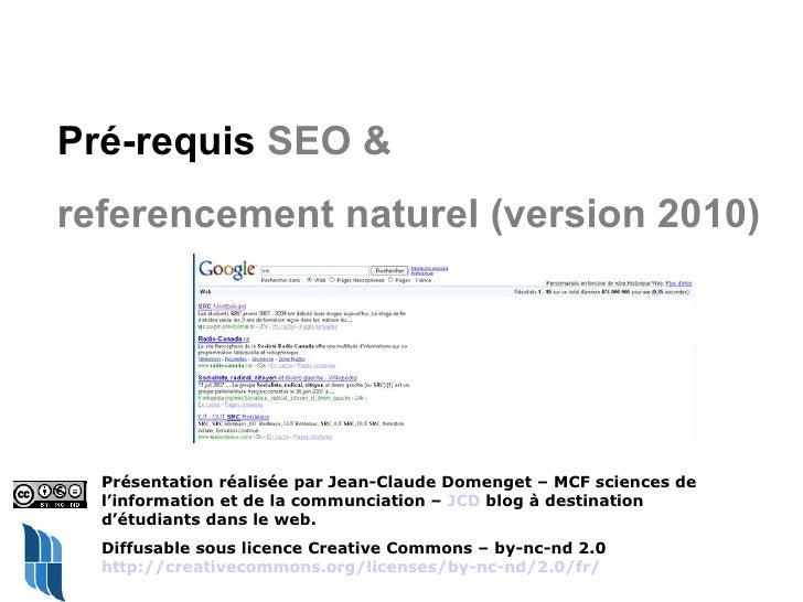 pre-requis seo - referencement naturel - version 2010
