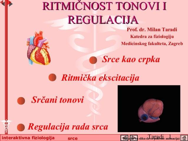 Taradi 1interaktivna fiziologija srce Srce kao crpka Srčani tonovi RITMIČNOSTRITMIČNOST TONOVITONOVI II REGULACIJAREGULACI...