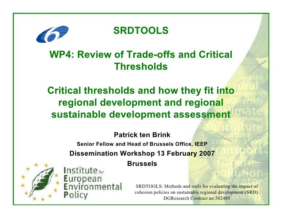 SRDTOOLS  WP4: Review of Trade-offs and Critical             Thresholds  Critical thresholds and how they fit into   regio...